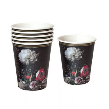 Baroque Floral Paper Cups - pack of 12